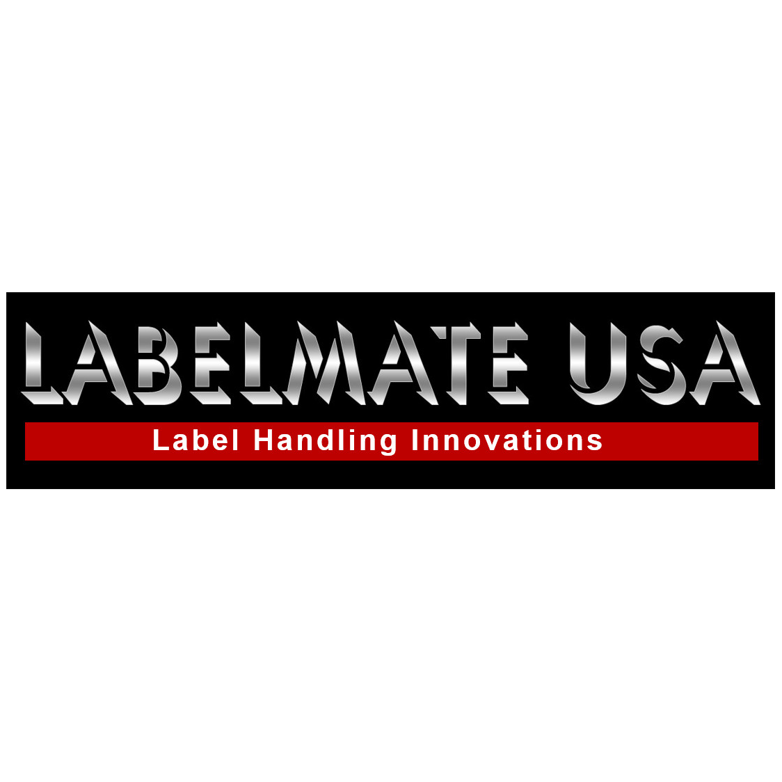 Labelmate USA black white and red logo