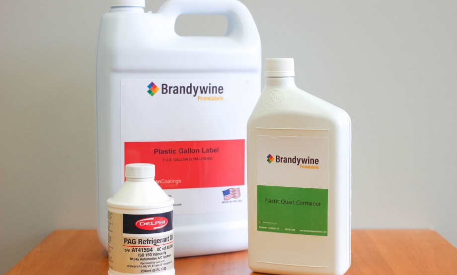 Lubricant packaging and brand marketing flexibility are enhanced with Brandywine Prime™ Glossy Paper and Glossy Film labels